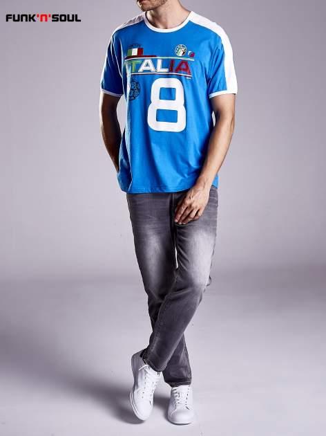 Niebieski t-shirt męski z napisem ITALIA Funk n Soul                                  zdj.                                  9