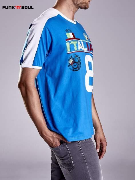 Niebieski t-shirt męski z napisem ITALIA Funk n Soul                                  zdj.                                  3