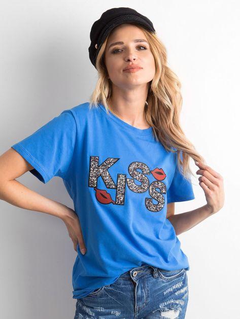Niebieski t-shirt z aplikacją                              zdj.                              1