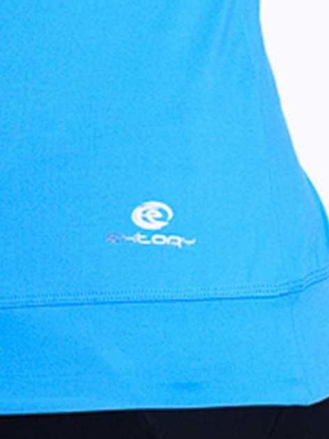 Niebieski top sportowy z siateczką i skrzyżowanymi ramiączkami                                  zdj.                                  5