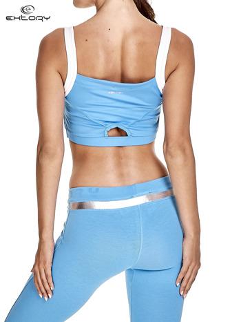 Niebieski top stanik sportowy na białych ramiączkach                                  zdj.                                  2