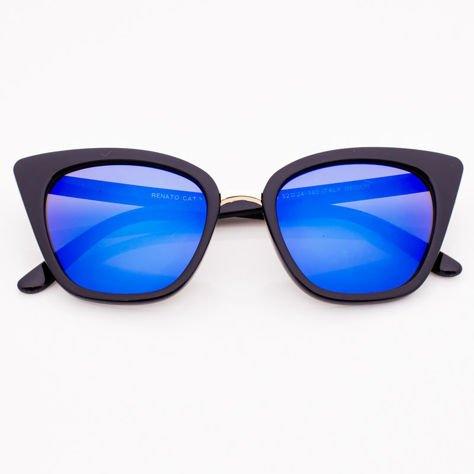 Niebieskie Lustrzane Damskie Okulary przeciwsłoneczne CAT EYE                              zdj.                              2