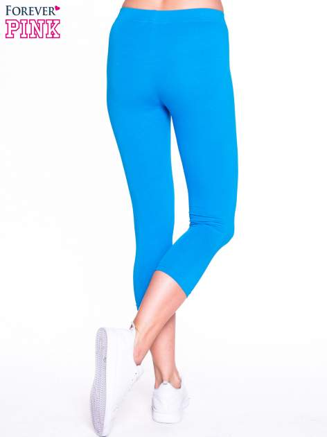 Niebieskie bawełniane legginsy 3/4                                  zdj.                                  4