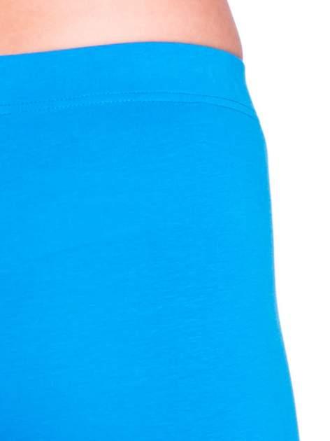 Niebieskie bawełniane legginsy 3/4                                  zdj.                                  5