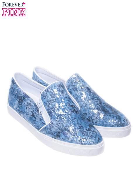 Niebieskie buty slip on Katie ze skóry węża                                  zdj.                                  2
