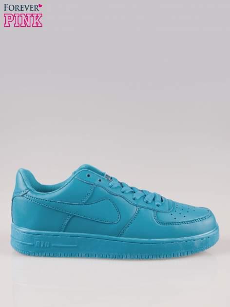 Niebieskie buty sportowe faux leather Your Move na grubej podeszwie                                  zdj.                                  1