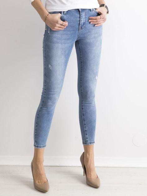 Niebieskie damskie spodnie jeansowe                               zdj.                              1