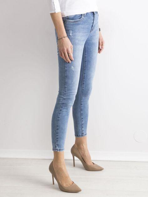 Niebieskie damskie spodnie jeansowe                               zdj.                              3