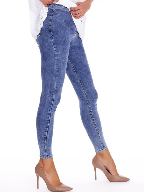 Niebieskie denimowe spodnie high waist                              zdj.                              3