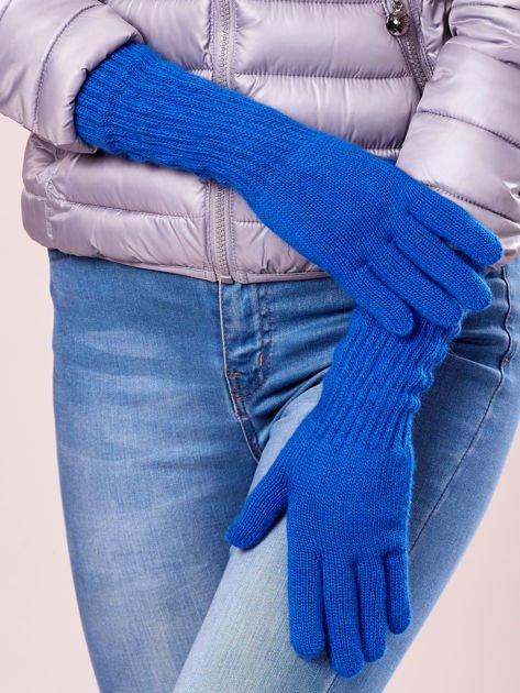 Niebieskie długie rękawiczki z drapowanym rękawem                                  zdj.                                  2