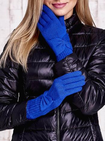 Niebieskie długie rękawiczki z kokardą i prążkowanym ściągaczem                                  zdj.                                  1