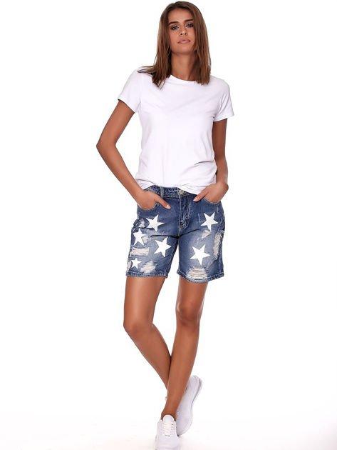 Niebieskie jeansowe bermudy z dziurami i wysokim stanem                              zdj.                              4
