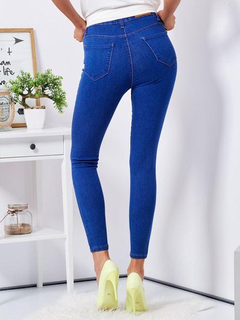 Niebieskie jeansowe rurki ozdobione perełkami                              zdj.                              2