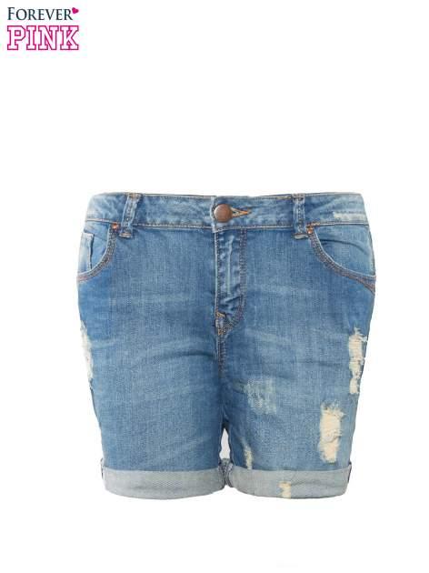 Niebieskie jeansowe szorty z podwijanymi nogawkami                                  zdj.                                  8