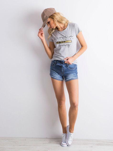 Niebieskie jeansowe szorty z wiązaniem                              zdj.                              6
