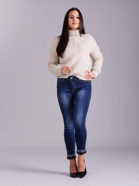 Niebieskie jeansy slim fit z aplikacją                              zdj.                              4