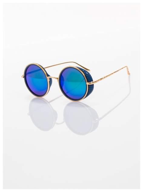 """Niebieskie lustrzanki okulary przeciwsłoneczne """"LENONKI"""" w stylu RETRO                                   zdj.                                  1"""