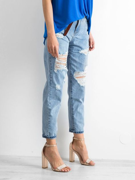 Niebieskie mom jeans Trashed                              zdj.                              3