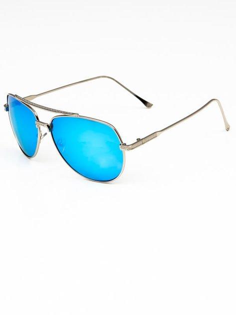 Niebieskie okulary w stylu PILOTKI AVIATORY lustrzanka                              zdj.                              2