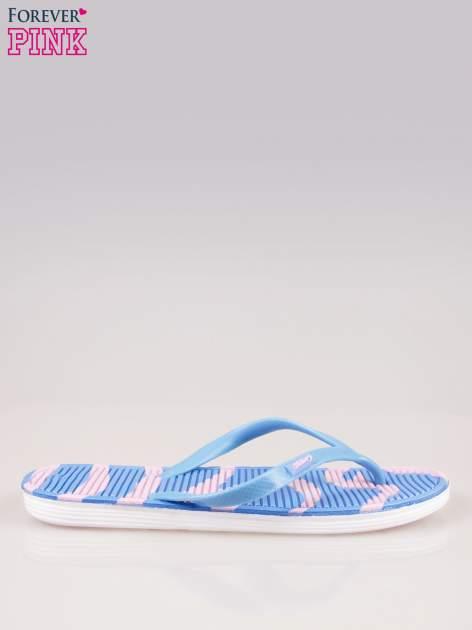 Niebieskie plażowe japonki z wzorzystą podeszwą                                  zdj.                                  1