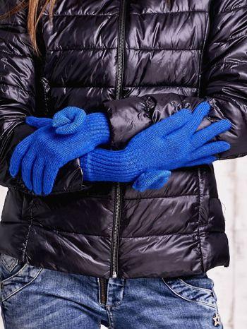 Niebieskie rękawiczki z kokardką i długim ściągaczem                                  zdj.                                  2