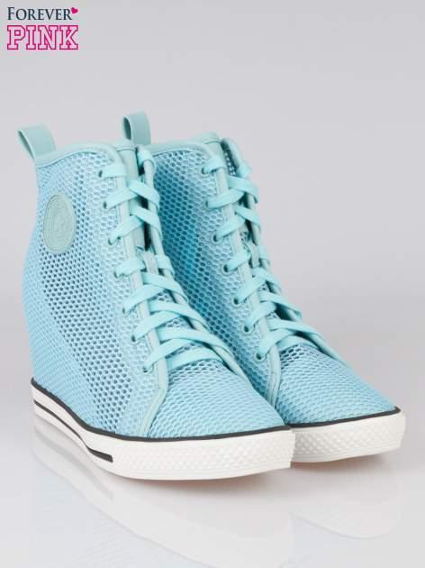 Niebieskie siateczkowe sneakersy damskie                                  zdj.                                  2