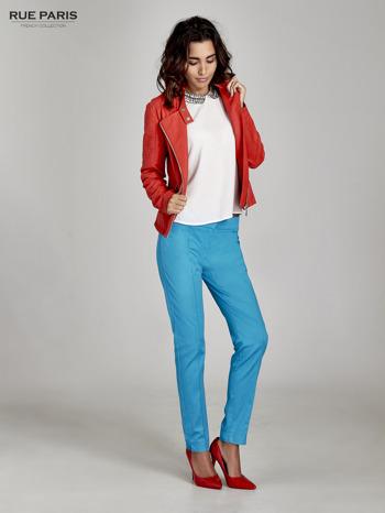 Niebieskie spodnie cygaretki w kant                                  zdj.                                  3
