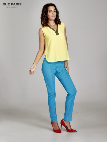 Niebieskie spodnie cygaretki w kant                                  zdj.                                  6