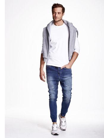Niebieskie spodnie jeansowe męskie z troczkami                                  zdj.                                  2