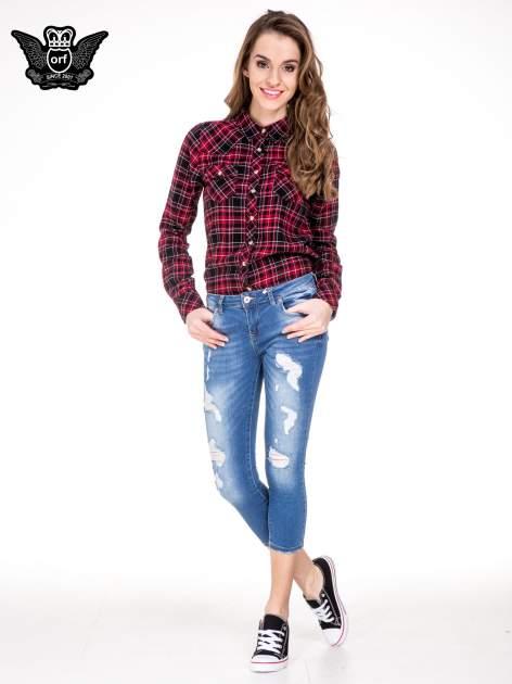 Niebieskie spodnie jeansowe skinny do połowy łydki                                  zdj.                                  4