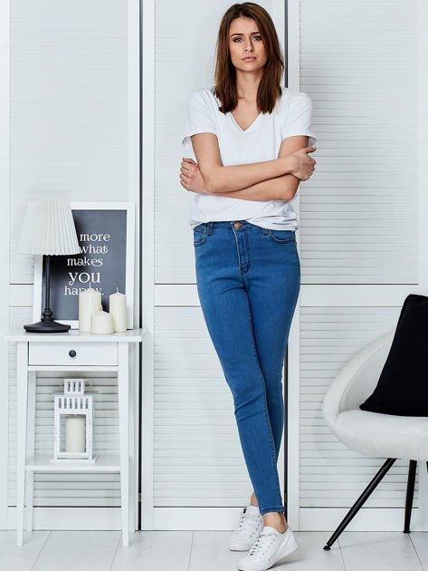 Niebieskie spodnie jeansowe skinny high waist                                  zdj.                                  4