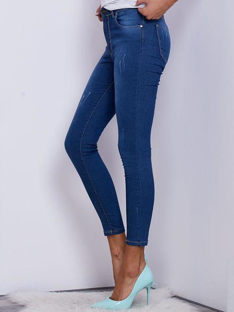 Niebieskie spodnie jeansowe skinny ze stretchem                              zdj.                              3