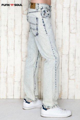 Niebieskie spodnie męskie z motywem acid wash Funk n Soul                                  zdj.                                  3