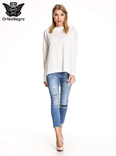 Niebieskie spodnie skinny jeans z łatami                                  zdj.                                  2