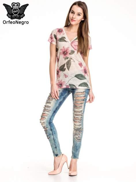Niebieskie spodnie skinny jeansy z rozdarciami typu cut out                                  zdj.                                  4