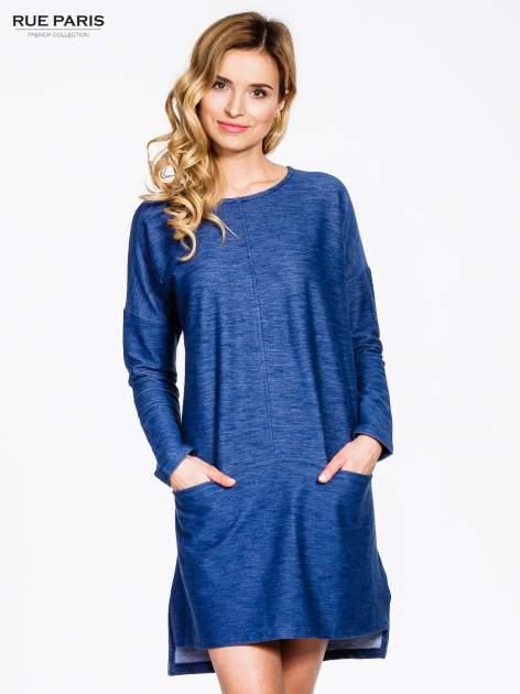 Niebieskie sukienka oversize z materiału a'la denim                                  zdj.                                  1