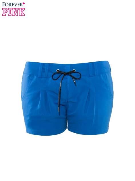 Niebieskie szorty plażowe wiązane w pasie                                  zdj.                                  2