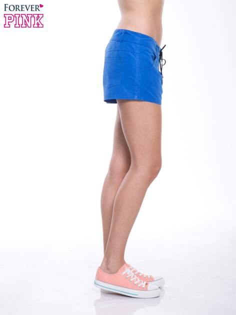 Niebieskie szorty plażowe wiązane w pasie                                  zdj.                                  3