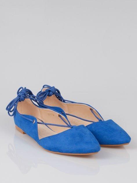 Niebieskie zamszowe wiązane baleriny faux suede lace up                                  zdj.                                  2