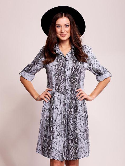 Niebiesko-czarna wzorzysta sukienka z kołnierzykiem                              zdj.                              1