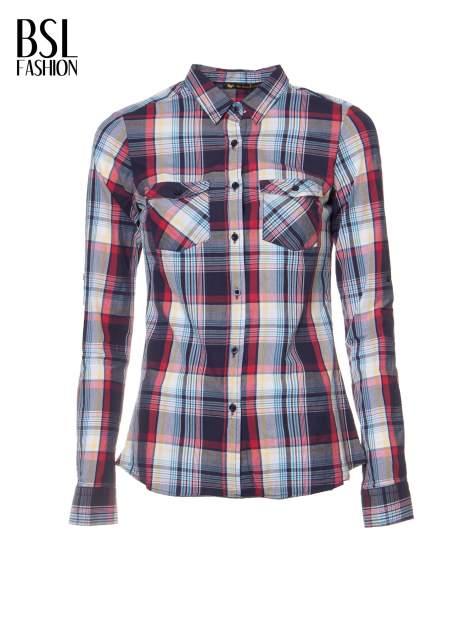 Niebiesko-czerwona koszula w kratę z kieszeniami                                  zdj.                                  2