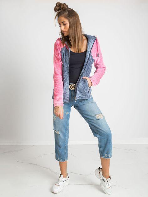 Niebiesko-różowa bluza Couture                              zdj.                              4