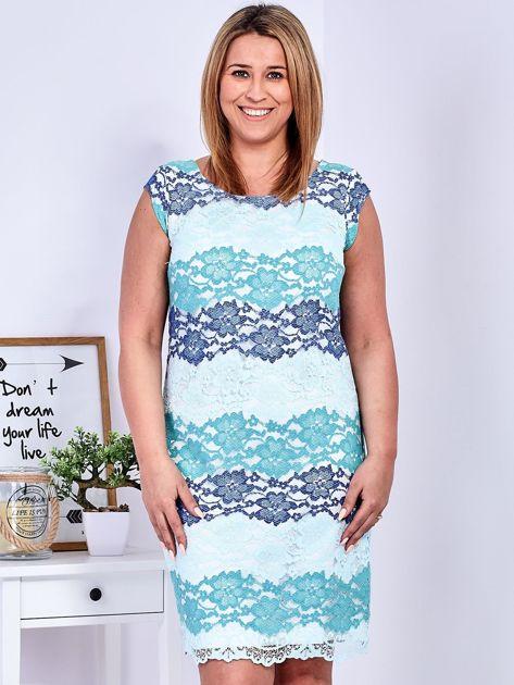Niebiesko-zielona koronkowa sukienka PLUS SIZE                                  zdj.                                  1