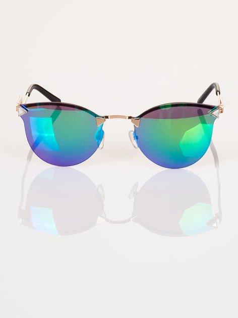 """Niebiesko-zielone eleganckie okulary przeciwsłoneczne """"KOCIE OCZY"""" z łamanym zausznikiem"""