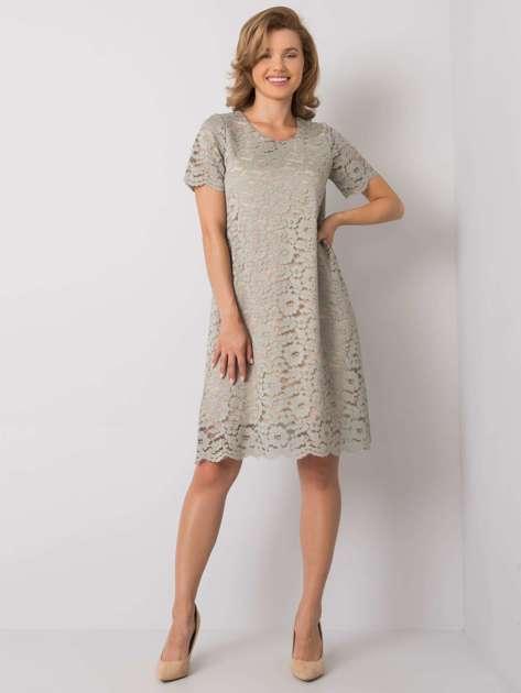 Oliwkowa sukienka koronkowa Lulu