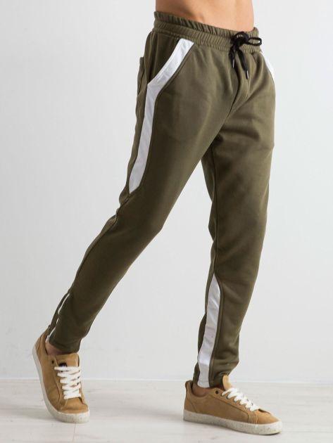 Oliwkowe spodnie dresowe męskie Durable                              zdj.                              3