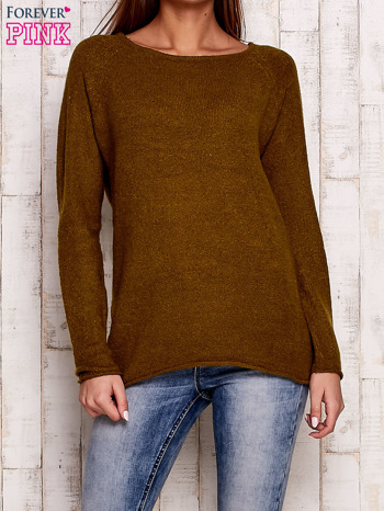 Oliwkowy dzianinowy sweter                                   zdj.                                  1