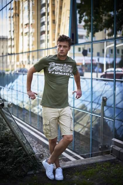 Oliwkowy t-shirt męski z nadrukiem moro                                  zdj.                                  11