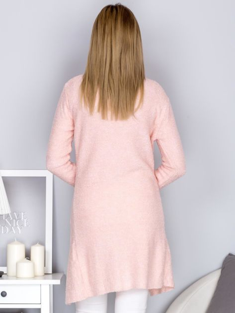 Otwarty sweter boucle z kieszeniami jasnoróżowy                                  zdj.                                  2