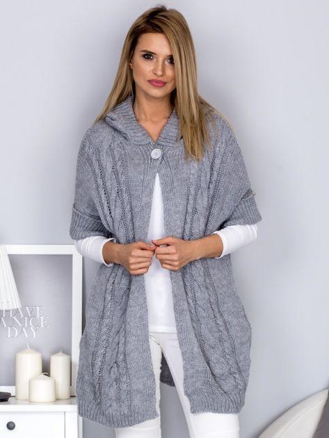 Otwarty sweter z warkoczowym wzorem i kapturem jasnoszary                                  zdj.                                  1